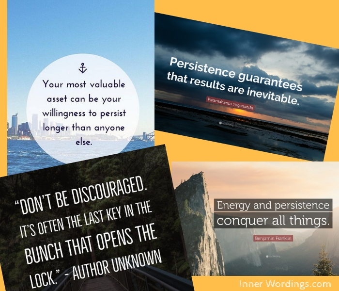 Image grouping together various quotes on persistence