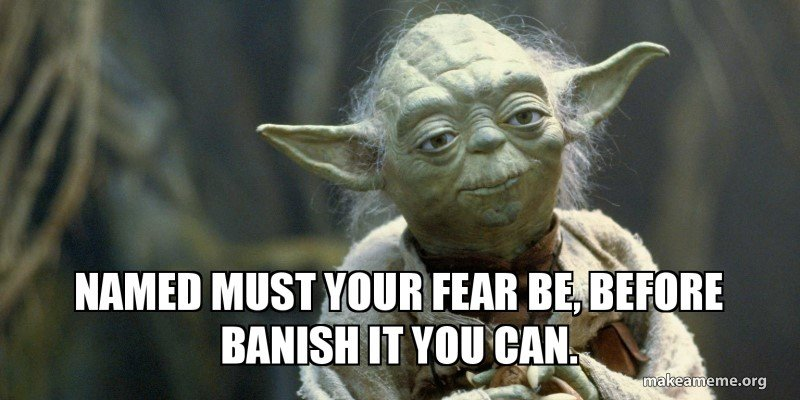 Yoda: Named must your fear be, before defeat it you can. Stop procrastinating by dealing with your fears.